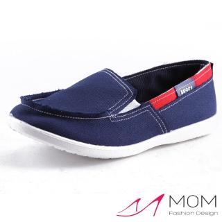【MOM】時尚潮流舒適休閒懶人鞋 樂福鞋 帆布鞋(藏青)