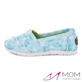 【MOM】韓版休閒舒適帆布鞋 懶人樂福鞋 童鞋(雲彩星星藍)