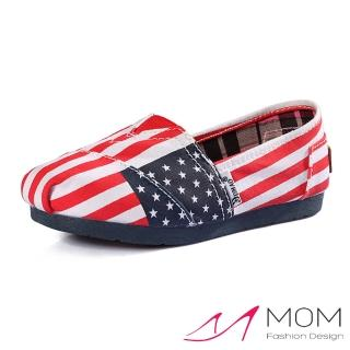 【MOM】美式潮流休閒舒適帆布鞋 懶人樂福鞋 親子童鞋(紅條星星)