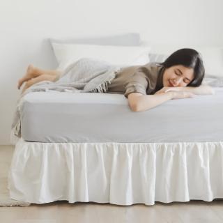 【翔仔居家】新疆水洗棉 素色下床裙 床罩(加大-2色可選)
