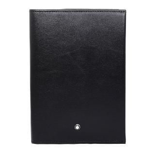 【MONTBLANC 萬寶龍】夜航系列亮面牛皮RFID防盜護照夾 黑色(118284 Black)