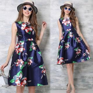 【KEITH-WILL】歐風優雅隨興印花洋裝(共1色)