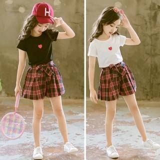 【小衣衫童裝】中大童小紅心短袖T恤紅格子短褲套裝(1080220)