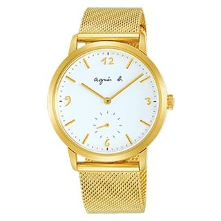 【agnes b.】簡約LOGO手繪時標時尚米藍寬錶-金(VD78-KLB0I/BN4008X1)