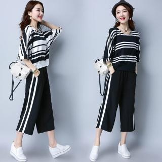 【REKO】時尚闊腿褲套裝條紋兩件套M-3XL(共三色)