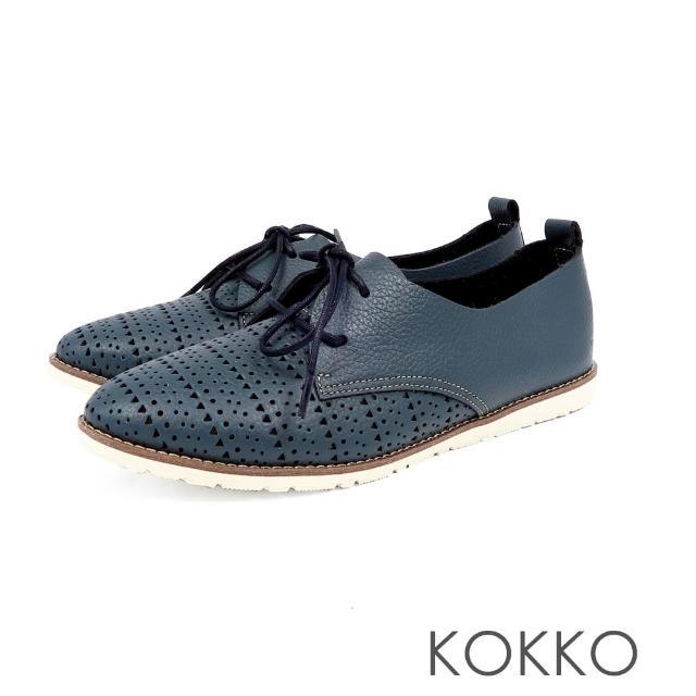 【KOKKO集團】花見小路真皮雕花綁帶休閒鞋(深夜藍)