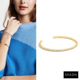 【SHASHI】Bianca Cuff 金色鑲鑽手環 亮面優雅圓弧 925純銀鑲18K(金色鑲鑽手環)