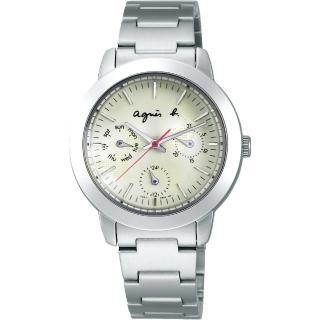 【agnes b.】經典草寫LOGO三眼造型女錶-白32mm(V33J-0ALAW)