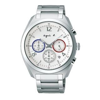 【agnes b.】法國國旗配色質感三眼計時腕錶-銀42mm(BT3001X1)