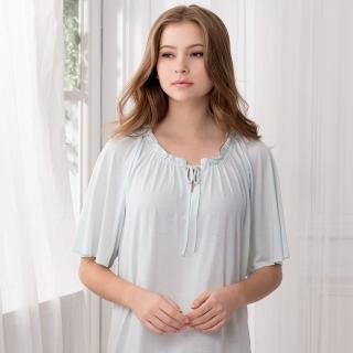【La Felino 羅絲美】保養系列短袖洋裝睡衣(空藍色)