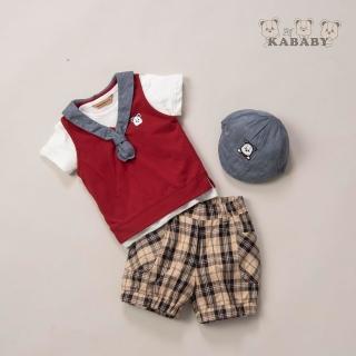 【金安德森】春夏彌月禮盒-三件式海軍領背心套裝(紅色)