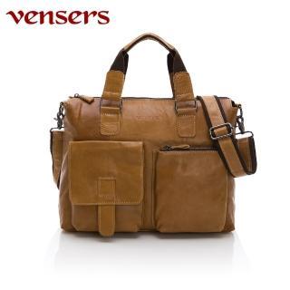 【Vensers】小牛皮潮流個性包~斜肩背包(N026002黃油皮)