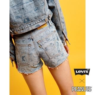 【LEVIS】女款 / 501 高腰排釦牛仔短褲 / Snoopy限量系列 / 滿版印花不收邊