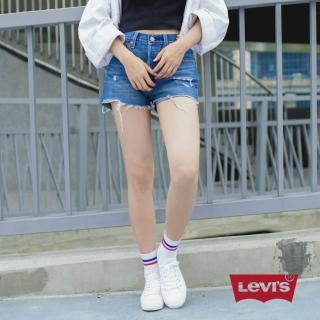 【LEVIS】女款 501 高腰排釦牛仔短褲 破壞