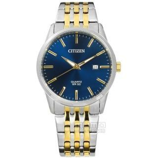 【CITIZEN 星辰】品味風尚 礦石強化玻璃 日期 日本機芯 不鏽鋼手錶 藍x鍍金 39mm(BI5006-81L)