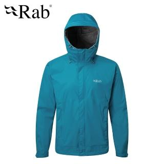 【英國 RAB】Downpour Jacket 高透氣連帽防水外套 男款 蔚藍 #QWF61(高透氣連帽防水外套)