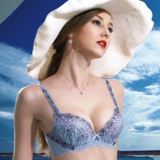 【Salute 莎露】蔚藍海景 B-D 罩杯內衣-奢華蕾絲-深V包覆-集中美胸(天藍)