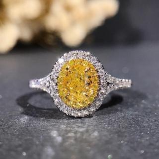 【光彩珠寶】黃彩鑽 18K金鑽戒(沙漠之星)