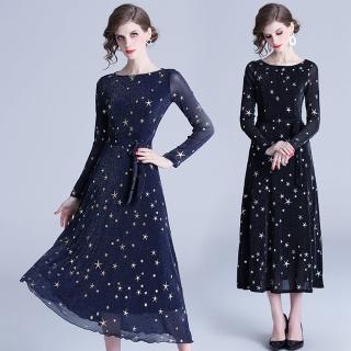 【M2M】時尚高雅星星燙金露背洋裝S-2XL(共二色)