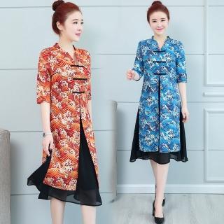 【REKO】復古立領假兩件旗袍洋裝M-3XL(共兩色)