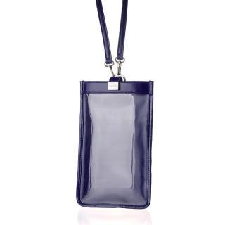 【LIEVO】TOUCH 真皮斜背手機護照包(午夜藍TC06-MB)