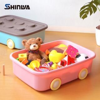 【nicegoods】日本製 Shinwa伸和 玩具衣物可疊固定收納箱XL-附輪-2入(50L)
