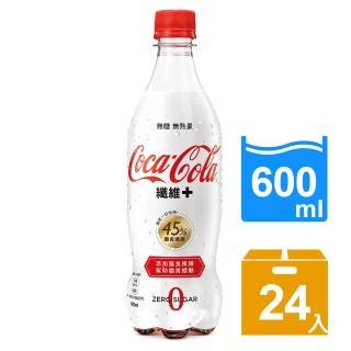 【可口可樂】纖維+寶特瓶600ml-4入x6組(共24入)