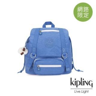 【KIPLING】晴空蔚藍雙扣翻蓋束口後背包-JOETSU S