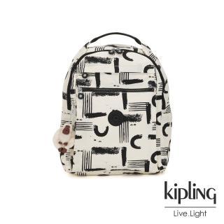【KIPLING】幾何水墨塗鴉多袋實用後背包-MICAH