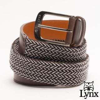 【Lynx】美國山貓典雅撞色彈性編織真皮穿針式皮帶