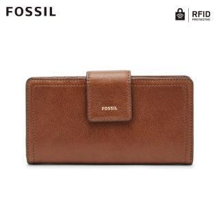 【FOSSIL】LOGAN咖啡色真皮拉鍊中長夾SL7830200/