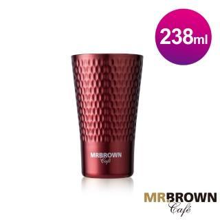 【MR.BROWN 伯朗】波紋不鏽鋼雙層杯(寶石紅)