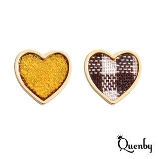 【Quenby】簡約百搭格子布少女心貼耳耳環/耳針-黃色(飾品/配件)
