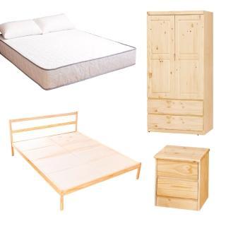 【AS】頂級松木雙人床四件房間組(床架+床墊+床頭櫃+衣櫥)