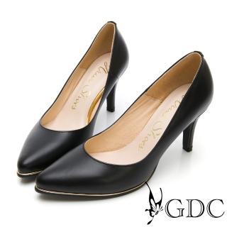 【GDC】氣勢女強人尖頭性感真皮上班金邊高跟鞋-黑色(911882)