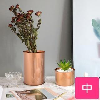 【Meric Garden】創意北歐ins風鐵罐/盆栽收納罐(有蓋-玫瑰金-中)