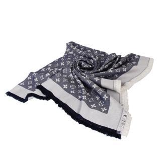 【Louis Vuitton 路易威登】LV M71376 經典Monogram denim花紋流蘇圍巾(藍)