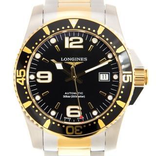 【LONGINES 浪琴】LONGINES 深海征服者300米潛水機械腕錶-黑金款x41mm(L37423567)