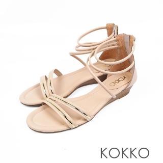 【KOKKO集團】羅馬假期旅行真皮細帶平底涼鞋(迷人杏)