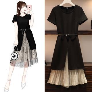 【麗質達人】8366長版上衣+短裙-二色(L-4XL)