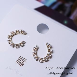 【Anpan】925銀針韓東大門C型幾何鑽石耳環