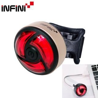 【INFINI】I-462R超輕量USB充電5段模式紅光後燈/尾燈/運轉燈-金殼(警示燈)
