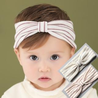 【UNICO】韓版 兒童舒適彈力條紋棉寬髮帶