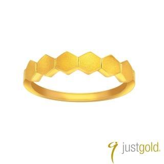 【Just Gold 鎮金店】搖滾蜂格純金系列 黃金戒指(實心)