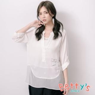 【betty's 貝蒂思】微透膚雪紡印貓咪上衣(白色)