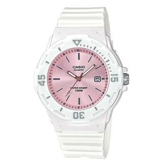 【CASIO 卡西歐】指針錶 橡膠錶帶 防水100米 白色粉面(LRW-200H-4E3)