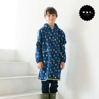 【w.p.c】空氣感兒童雨衣/超輕量防水風衣 附收納袋(藍雨滴L)