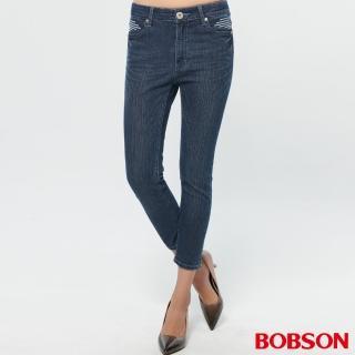 【BOBSON】女款鑽飾刺繡牛仔七分褲(213-53)