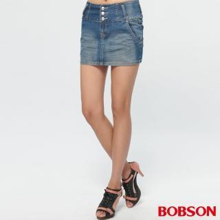 【BOBSON】女款高腰頭牛仔短裙(D099-53)