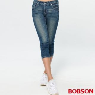 【BOBSON】女款低腰涼爽紗牛仔七分褲(225-53)